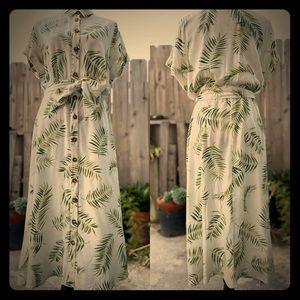 Palm Leaf Print H&M Midi Dress
